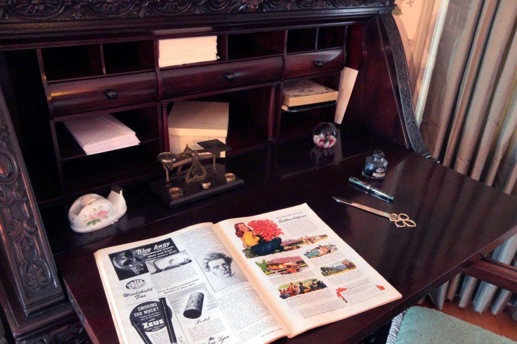 Drop-front desk in the Green Bedroom.