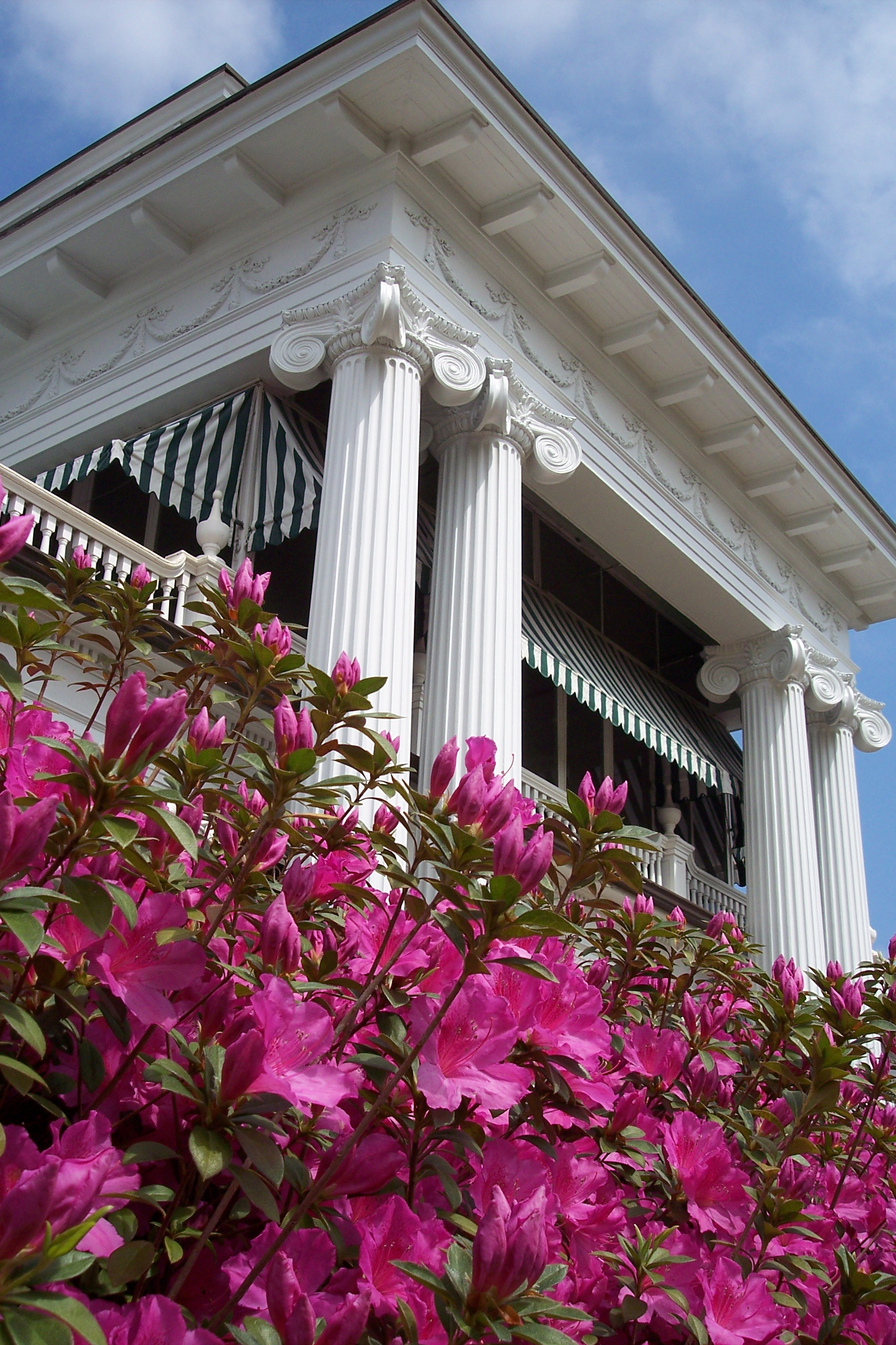 exterior azaleas and columns sleeping porch