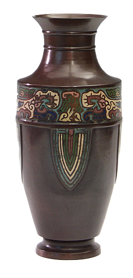 Bronze, Chinese style Cloisonné vase with Tao-tieh mask design, ca. 1900