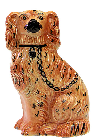 Dog (Spaniel), glazed earthenware figurine, Staffordshire, England, ca. 1920