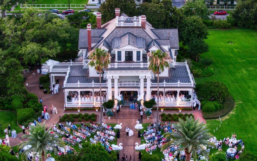 Aerial View of McFaddin-Ward House Museum during Neches River Festival Celebration.